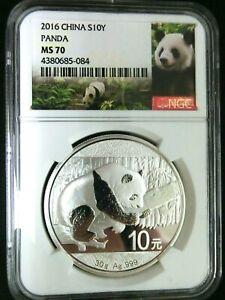 NGC MS70-China 2016 Panda Silver 10 Yuan Perfect GEMBU Scarce