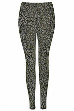 Brand New Topshop Leopard glitter leggings UK 6 in Multi/Glitter Gold