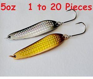 Gold & Silver 5oz Casting Crocodile Spoons Fishing Lure 7/0 Siwash Hooks 1to 20