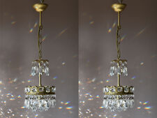 Matching Pair Of Pendant Antique French Vintage Crystal Chandelier Lamp Lighting