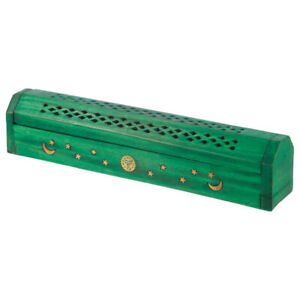 Green Incense Burner Ash Box with Sun Moon Stars Inlay Hand Carved Wood
