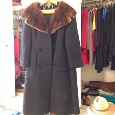 Vintage France Black Wool Coat with Mink Fur Collar and Satin Lining Size 12