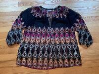 ZOA New York Women Blue Geometric Sheer 3/4 Sleeve Blouse Tunic Top Size Small