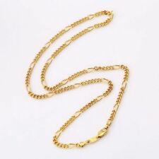 "9ct 9K Yellow ""Gold Filled"" Men Ladies Lovely Figaro NECKLACE CHAIN. L=18"" Gift"