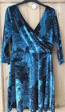 Monki Velvet Leopard Dress Blue And Black Size M