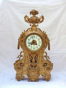 """22"""" XXL Gorgeous Antique French Bronze Lion Clock 19TH Paris movement Gothic"""