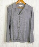 Cloth Stone Anthropologie Small Button Down Shirt White & Navy Blue Stripe Top