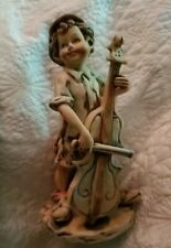 Vintage Boy Playing Stand up Bass or Cello by Old World Original