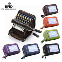 Genuine Leather RFID Blocking Credit ID Card Holder Pocket Wallet Zip Coin New