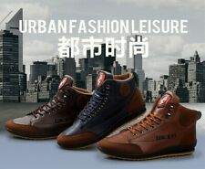 Men's High Top Lace-up Ankle Boots PU  Leather Casual Sneaker Work Shoes