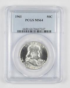 1961 MS64 Franklin Half Dollar - 90% SILVER - - PCGS Graded *877