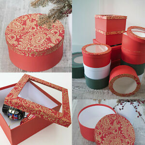 gift boxes with clear or plain lid round square choice of colors 20x20x10cm