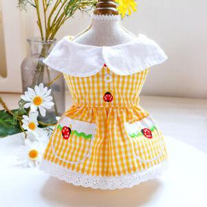 Summer Cute Pet Dog Dress Clothes Plaid Ladybug Flower Puppy Cat Princess Dress