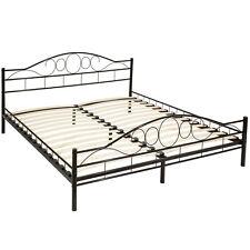 Lit en métal double 2 places cadre de lit + sommier à lattes 180x200 cm noir
