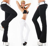 Women's Low Cut Jeans Hipster Bootcut Jeans Stretchy Pants + Belt Size 6-14