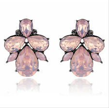 Hot Fashion Party Resin Drop Rhinestone Flower Statement Stud Earring