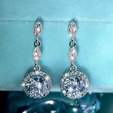 18k white gold gf made with SWAROVSKI crystal stud drop dangle classic earrings