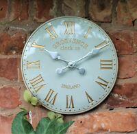 Wall Clock Grey Garden Indoor Outdoor Hand Painted church clock Roman 30cm