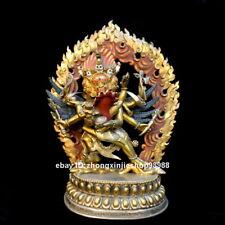 Tibet Mahakala Hayagriva Yab-Yum Buddha Nepal Bronze 24K Gold Statue 22CM