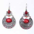Women Lady Retro Boho Red Gem Long Ethic Bohemian Party Earrings Ear Hook Drop