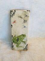 Ceramic Wall Pocket Planter Vase Tan Frog Dragonflies Intentional Crazing  C