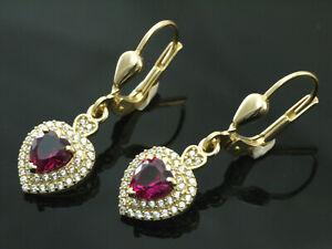585 Gold Ohrringe mit  Rubin Herzen und Zirkonia  28 mm Länge  1 Paar mit Brisur