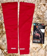 AND1 Compression Shooter Basketball Arm Sleeves Pair RED White NEW Mens M L