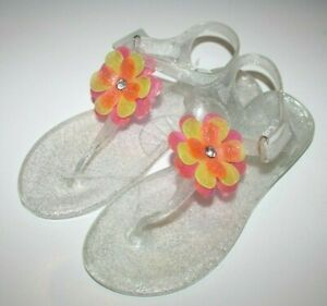 Carter's Selena Sandals Toddler Jelly T-Strap Clear Orange Flower 5/6/8/10/11