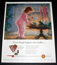 1948 OLD MAGAZINE PRINT AD, GOOD THINGS HAPPEN OVER COFFEE, CHRISTMAS CHILD ART!