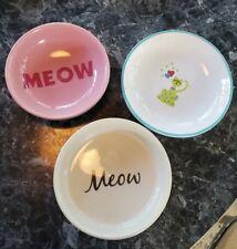 Whisker City Kitten/Cat 3 Feeding Water Food Bowl Pink w/Fishes/Plate w/Kitties