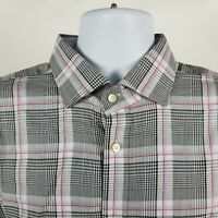 Thomas Dean Mens Black Gray White Plaid Check Dress Button Shirt Sz XL