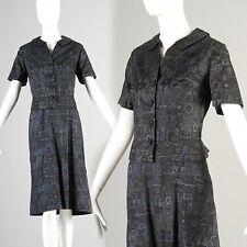 L Vintage 1950s 50s Ethnic Print Skirt Suit Mid Century Outfit Blouse Summer