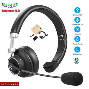 Bluetooth Headset Wireless Trucker Headphone with Noise Cancelling Mute Mic