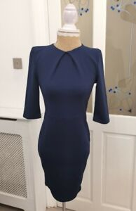 boohoo short sleeve dress uk 8 - 10 womens pleated neck navy ladies party