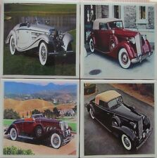 Handmade Stone Ceramic Tile Marble Drink Coaster -Set of 4-Classic Automobile 2A