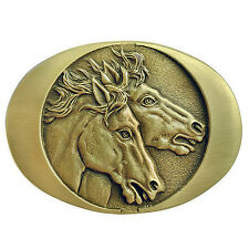 Horse Heads Belt Buckle OBM123 IMC-Retail