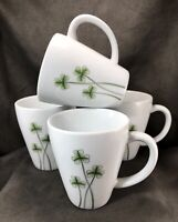 Lot of Four! Marcus Notley 2007 Porcelain Coffee Tea Mugs Cups- Shamrock Clover