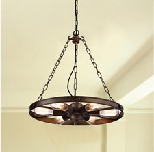 Wagon Wheel Chandelier Rustic Hanging Light Fixture Ceiling Pendant Kitchen Bar