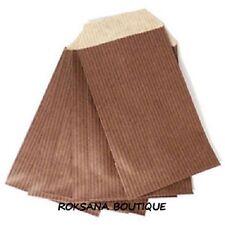 50 Pochettes cadeau sachets papier kraft bijoux emballage marron chocolat 7x13cm