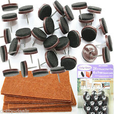 24 Nail In Protective Felt Pads Wood Floor Protector FREE 4 Square Stick On Pads