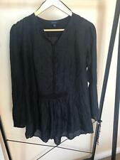 Witcher's Size 12 Black Silk boho loose flowing peasant top shirt