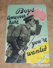 AUSTRALIAN Gallipoli Campaign ad TIN SIGN recruitment Anzac WW2 vintage military