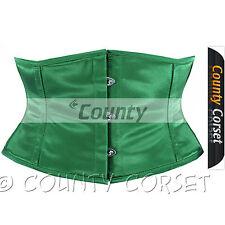 Shaper Cincher MINI Vestaglia Stecche Acciaio waistbust verde sexy corsetto in Satin