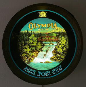 "Vintage 1980 Olympia Beer ""Ask For Oly"" Barrel Motion Lighted Waterfall Sign"