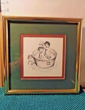 Framed,Bathroom Art,Asian Artwork,Toddlers Playing In Tub,Drawing, Black & White