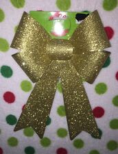 10 Pieces Christmas Glitter Gold Bows.