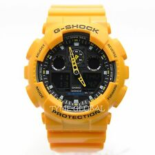 Casio G-Shock GA-100A-9A Yellow Resin Black Dial Magnetic Resist Sport Men Watch