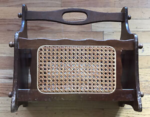 Vintage 1970s Wooden Magazine Wood Caning Woven Wicker Rattan Rack Boho - AS IS