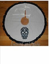 "SCROLL SKULL Embroidered Tree Skirt, Lamp Skirt 26""dia,Halloween,Prim,Fall, Goth"