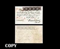 Baden 1851 Cover 9-Kreuzer Black, Sent from Freiburg to Frankfurt,$66000.Copy